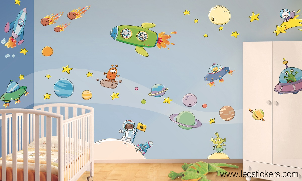 Free free camerette bellissime nello spazio with sticker pareti bambini with pareti camerette - Decorazioni muri camerette bambini ...