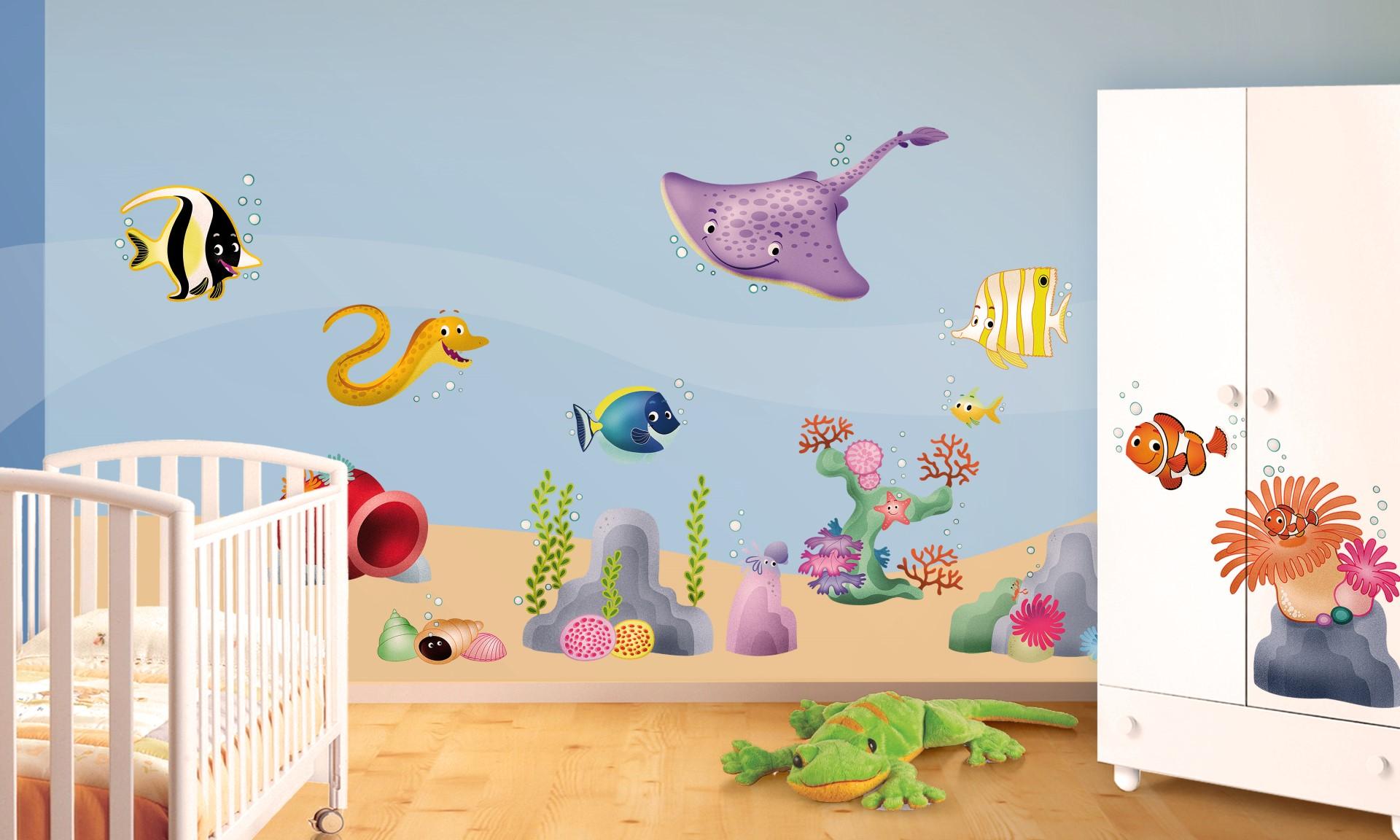 Decorazioni murali camerette bambini disegno idea adesivi - Decorazione parete cameretta ...