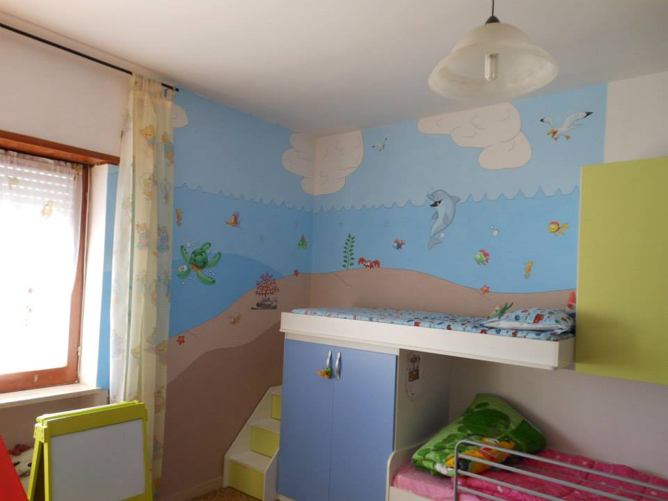 Cameretta a tema mare 10 idee per decorare le pareti con i pesciolini - Pareti camera bambini ...