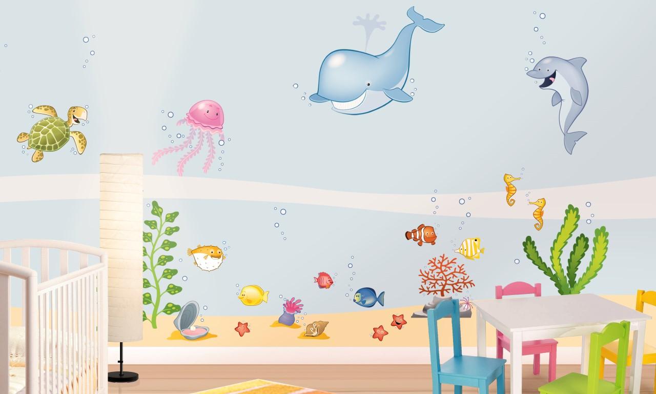 Idee Pittura Cameretta Bambina cameretta a tema mare: 10 idee per decorare le pareti con i