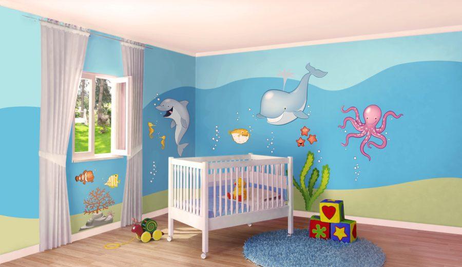 Idee Per Decorare La Camera : Cameretta a tema mare idee per decorare le pareti con i pesciolini