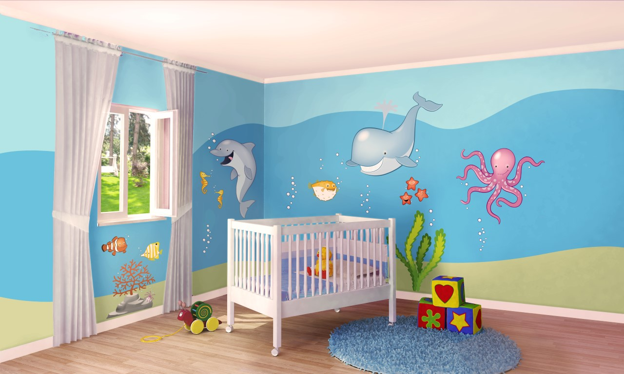 Cameretta a tema mare 10 idee per decorare le pareti con for Parete cameretta bambina