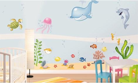 Camerette per bambini a tema mare leostickers - Decorazioni murali bambini ...