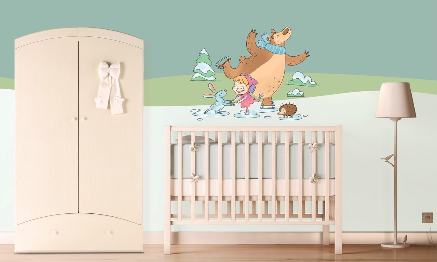 Stickers murali bambini cameretta masha e orso leostickers - Immagini camerette per bambini ...