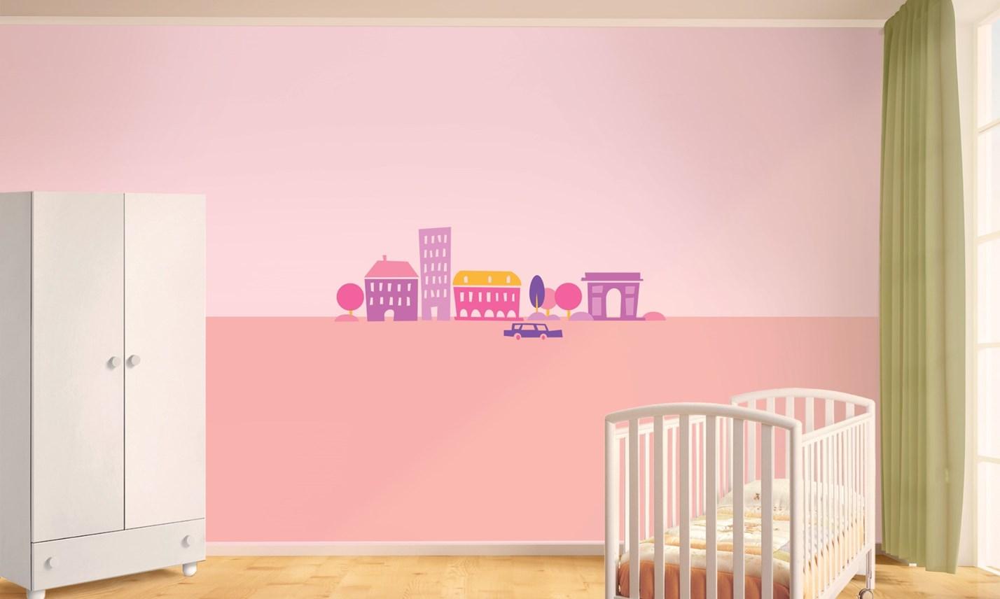 Stickers murali bambini cameretta greca per bambine rosa leostickers - Adesivi cameretta bimbo ...