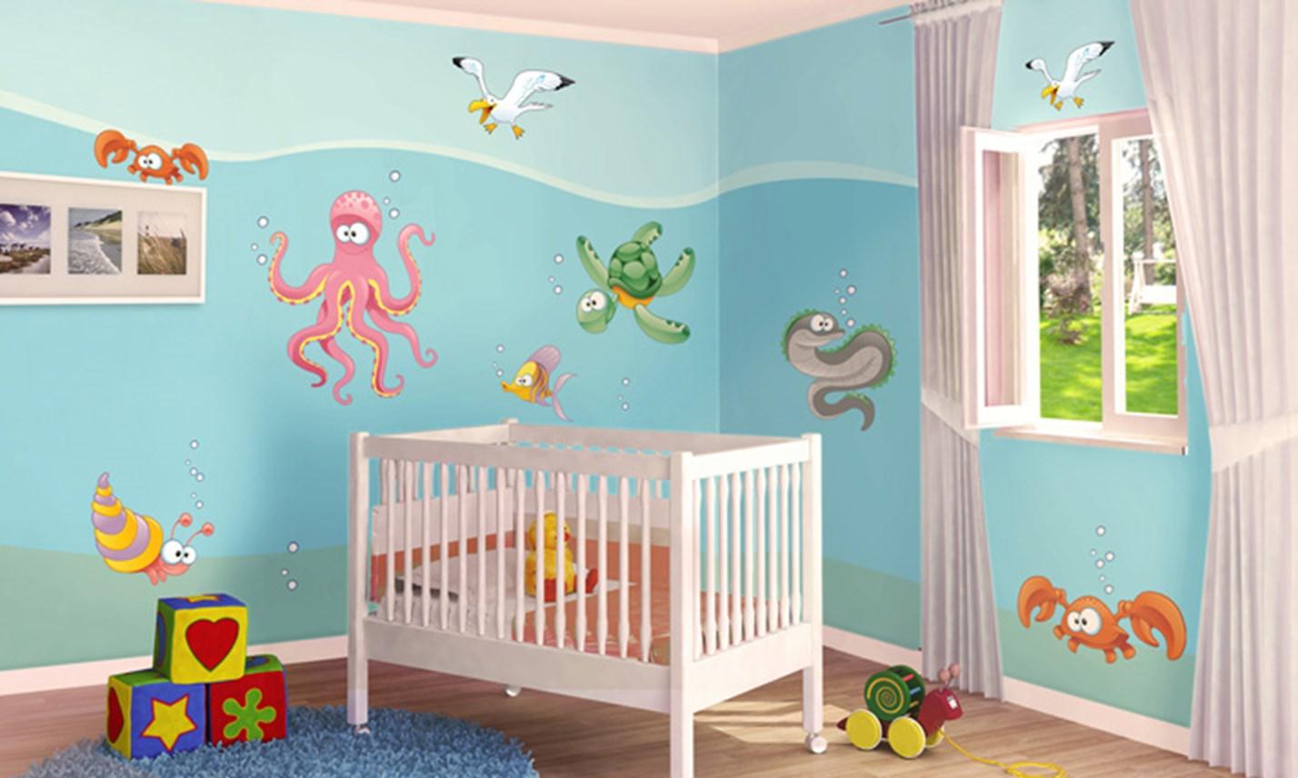 Stickers murali bambini cameretta sott 39 acqua leostickers - Decorazioni murali camerette ...