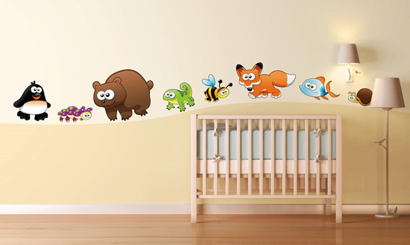 Stickers murali bambini cameretta animali divertenti leostickers - Idee camerette per bambini ...