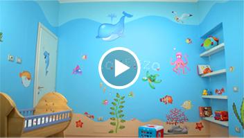 Decorazioni camerette idee per dipingere le pareti video tutorial leostickers - Dipingere la cameretta dei bambini ...